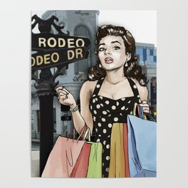 Retro Pinup Girl Shopping on Rodeo Drive Poster
