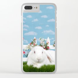 White lop eared bunny in a flower garden Clear iPhone Case
