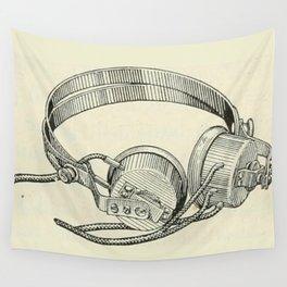 Old school headphones. Wall Tapestry