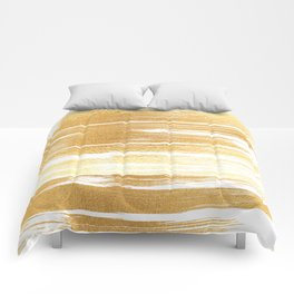 Abstract faux gold white modern paint brushstrokes Comforters