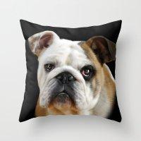 bulldog Throw Pillows featuring Bulldog by Julie Hoddinott