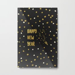 Happy New Year Gold Metal Print