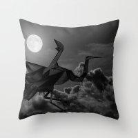 crane Throw Pillows featuring Crane by JPeG