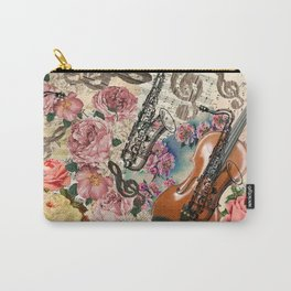 Vintage pink bohemian roses classical notes musical instruments Carry-All Pouch