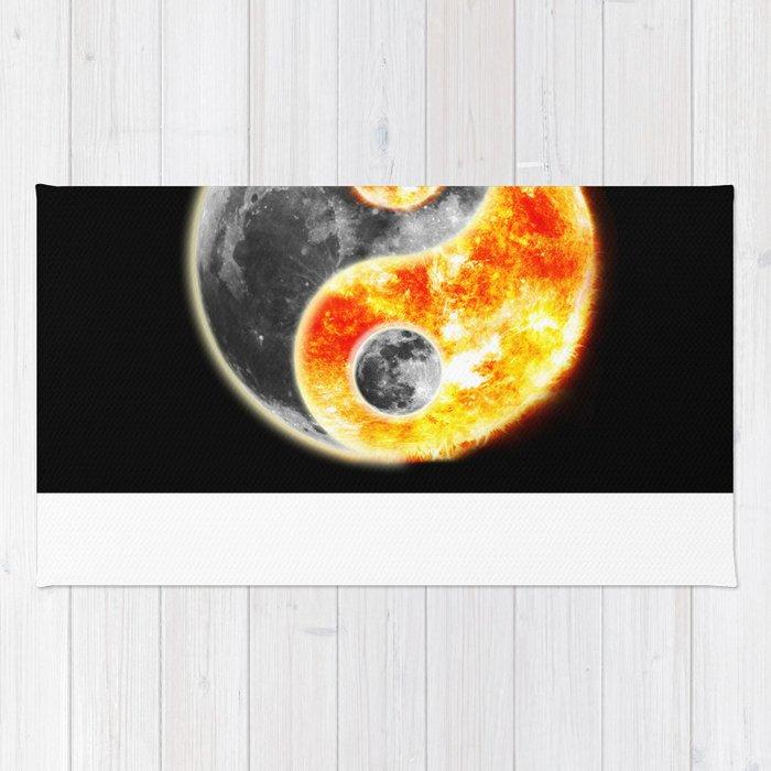 Sun Moon Day and Night Ying Yang Rug