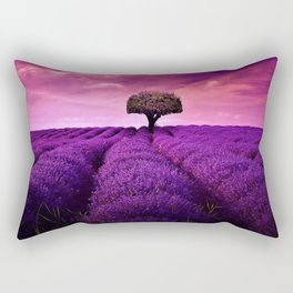 Pink Sunset in Fields of Lavender portrait Rectangular Pillow
