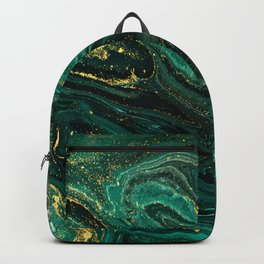 Abstract Pour Painting Liquid Marble Dark Green Teal Painting Gold Accent Backpack