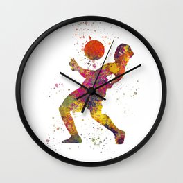Soccer player isolated 08 in watercolor Wall Clock