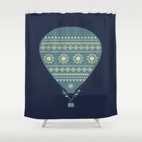 hot air balloon Shower Curtains featuring Hot air balloon by HeyAle!
