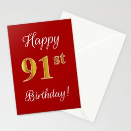 """Elegant """"Happy 91st Birthday!"""" With Faux/Imitation Gold-Inspired Color Pattern Number (on Red) Stationery Cards"""