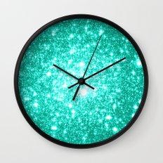 mint Sparkle Stars Wall Clock