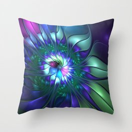 Abstract Flower Colorful Fractal Art Throw Pillow