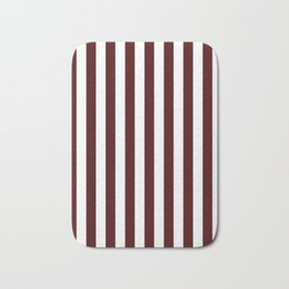 Narrow Vertical Stripes - White and Bulgarian Rose Red Bath Mat