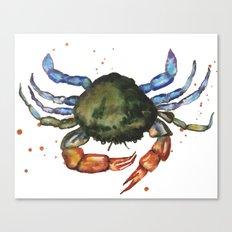 CRAB print, crab art, nautical decor, sea creatures, watercolor animals, animal paintings Canvas Print