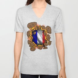 USA France Flag Inside | Proud French American Heritage, Biracial American Roots, Culture, Unisex V-Neck