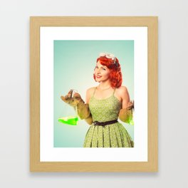 Distractingly Sexy Scientist Pinup Framed Art Print