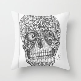 skull, the difference is this is me underneath your skin..... Throw Pillow