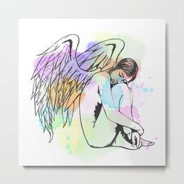 Watercolour Sleeping Angel Metal Print