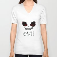 evil V-neck T-shirts featuring Evil by Timkirman