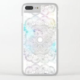 abstract gray and turquoise mandala design in minimal style Clear iPhone Case