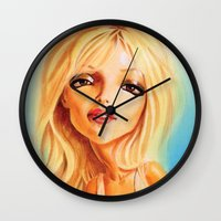 britney spears Wall Clocks featuring Britney Spears by Patrick Dea