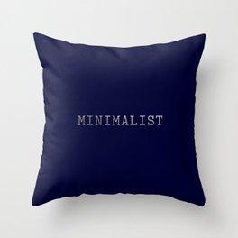 Dark Navy Blue and Silver Minimalist Typewriter Font Throw Pillow