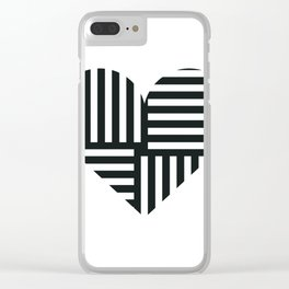 Black and White Abstract Stripe Heart Clear iPhone Case