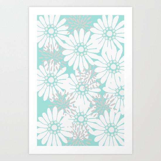 Summer Flowers Turquoise Art Print