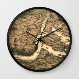 Vintage Ohio & Mississippi River Junction Map (1861) Wall Clock