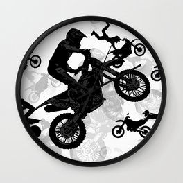 High Flying Stuntmen - Motocross Riders Wall Clock