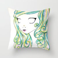 fairy Throw Pillows featuring Fairy by Caitlin Roberts