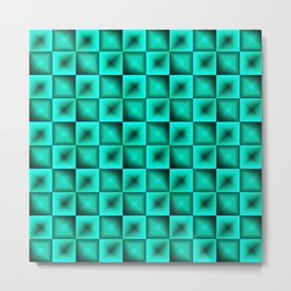 Fashionable large glare from small light blue intersecting squares in gradient dark cage. Metal Print