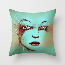 Rusted Girl green Throw Pillow
