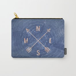 Rosegold and Blue Compass Carry-All Pouch