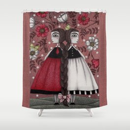 Snow-White and Rose-Red (1) Shower Curtain