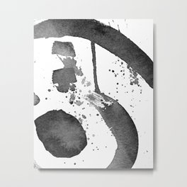 Minimal Brushstrokes Abstract Painting Metal Print