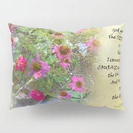 Serenity Prayer Pink Flowers on Yellow Pillow Sham