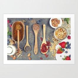 Breakfast set with granola, almond milk, superfoods and berries Art Print