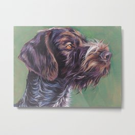 German Wirehaired Pointer dog art portrait from an original painting by L.A.Shepard Metal Print