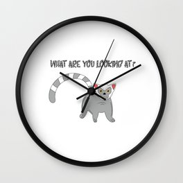 Unique & Funny Ringtail Cat Tshirt Design What are you looking at? Wall Clock