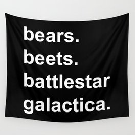 Bears Beets Battlestar Galactica (lowercase white) - the Office Wall Tapestry