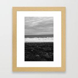 Beach in black and white Framed Art Print