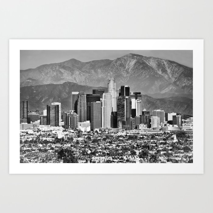 Los angeles california skyline black and white art print