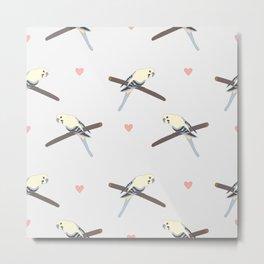 Seamless hand drawn pattern with beautiful birds Metal Print