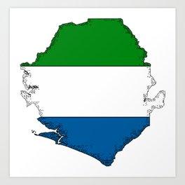 Sierra Leone Map with Sierra Leonean Flag Art Print