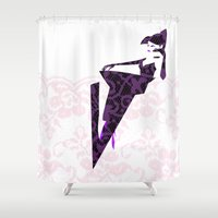 lace Shower Curtains featuring Lace by Wheel of Fortune