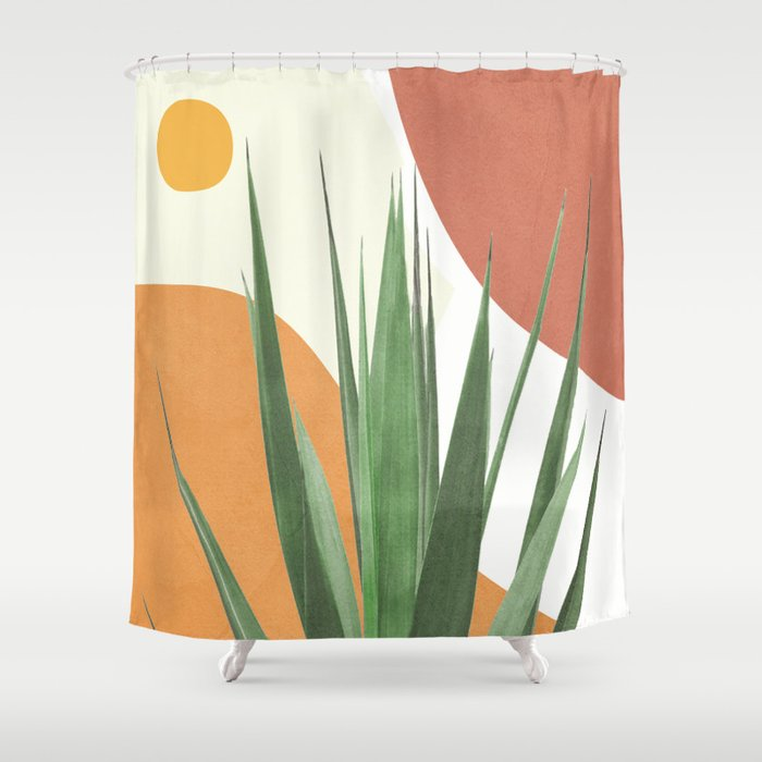 abstract agave plant shower curtain by flowline