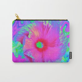 Psychedelic Pink and Red Hibiscus Flower Carry-All Pouch