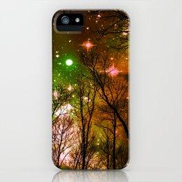 Black Trees Peach Brown Green Space iPhone Case