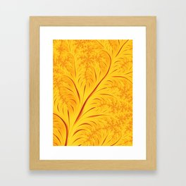 Fall Leaves Abstract Autumn Yellow Orange Gold Leaf Pattern Framed Art Print